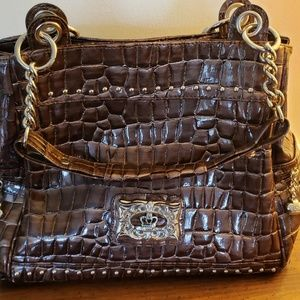 Large Kathy VanZeeland brown croc purse